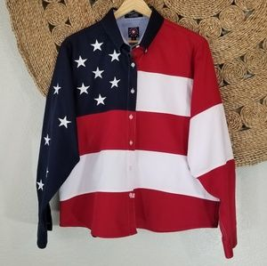Panhandle Slim American flag button down Large i10
